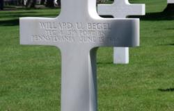 A picture of Willard Begel's grave at the Normandy American Cemetery. Courtesy of Lynne O'Hara