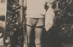 Andersen fishing as a boy, 1932. Courtesy of William Andersen