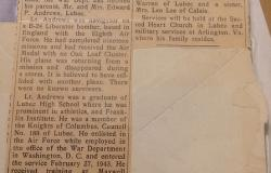 Local clipping about from the death of Sherman J. Andrews, 1944. Courtesy of Brian Schaffer.