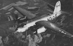 A B-26 Marauder of the 496th Bomber Squadron, leaving a raid on the Nazi airfield at Beauvais-Tillé in France. This aircraft would have flown in formation with Sweety Baby.  National Archives and Records Administration (A18416)