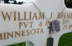 Recreation of Private Bremer's dog tags on his headstone at Normandy American Cemetery, June 27, 2017. Courtesy of Christopher Stewart