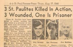 Private Bremer's obituary in the local newspaper, the  St. Paul Pioneer Press, August 17, 1944. Courtesy of the St. Paul Pioneer Press