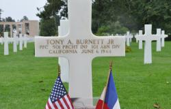 Tony A. Burnett, Jr.'s gravestone at Normandy American Cemetery in Colleville-sur-Mer, France. Courtesy of Amanda Hendrey