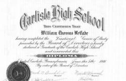 William T. McCabe's Carlisle High School diploma, June 1941