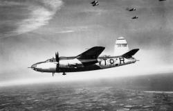 A B-26 Marauder of the 323<sup>rd</sup> Bomber Group in flight. American Air Museum in Britain (FRE 1208).