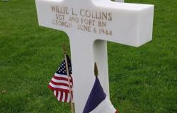 Willie L. Collins' grave at Normandy American Cemetery, June 27, 2017. Courtesy of Jason Butler.
