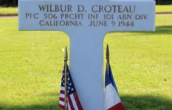 Wilbur D. Croteau's grave at the Normandy American Cemetery, October 2017. Courtesy of the American Battle Monuments Commission.