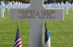 Charles L. Culver's grave at Normandy American Cemetery, October 2017. Courtesy of the American Battle Monuments Commission.