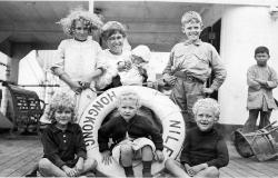 A photograph of the Doyle family on SS Nile, 1920. Courtesy of Kenton Warwick.
