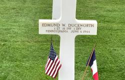 Duckworth's grave at the Normandy American Cemetery, June 27, 2017. Courtesy of Lauren Miller