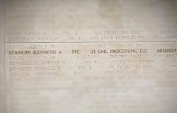 Kenneth's Name at the Tablets of the Missing, June 27, 2017. Courtesy of Zachary Meiselbach
