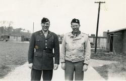 The last known picture taken of Chaplain Captain Philip B. Edelen with a unknown soldier, c. 1944. Courtesy of Nancy Brown
