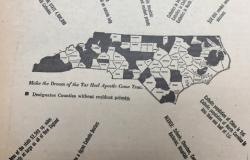 Map showing the Catholic population of North Carolina in 1948. Courtesy of NC Catholics