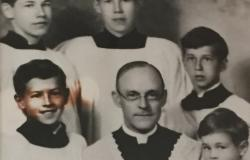 Photograph of the Edelen boys as altar servers in Sacred Heart Cathedral School in Raleigh, North Carolina, c. 1930. Top row (from left) is William, Philip, and Ernest Edelen. Bottom row from left is Ruey Edelen, Monsignor Arthur Raine Freeman, and Neale Edelen. Courtesy of the Diocese of Raleigh