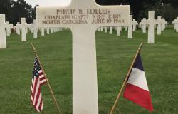 Chaplain Captain Philip B. Edelen's Grave at the Normandy American Cemetery in France, June 27, 2017. Courtesy of Rebecca Wicklin