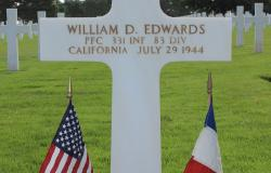 Private First Class William D. Edwards' grave at Normandy American Cemetery, October 2017. Courtesy of American Battle Monuments Commission.