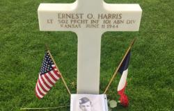 First Lieutenant Harris' final resting place at Normandy American Cemetery in Colleville-sur-Mer, France, June 27, 2017. Courtesy of Jay Mehta