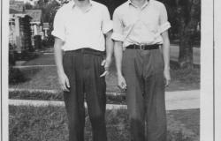 First Lieutenant Harris (right) with his brother Warren during their college years, c. 1938-1942. Courtesy of Molly James.