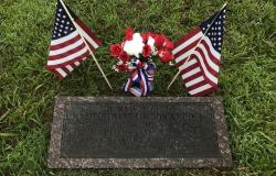 First Lieutenant Fieldon B. Huie, Jr.'s Memorial Stone in Morrilton, Arkansas, July 3, 2017. Courtesy of Megan McGinnis