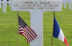 Owen D. Magie's grave at Normandy American Cemetery, October 2017. Courtesy of the American Battle Monuments Commission.