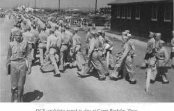 This photograph showed Officer Candidates marching to class at Camp Barkley, Texas. U.S. Army Medical Department, Office of Medical History.