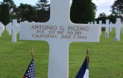 Antonio G. Piceno's grave at Normandy American Cemetery, October 2017. Courtesy of the American Battle Monuments Commission.