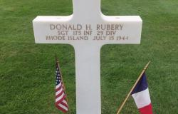 Sergeant Rubery's grave at the Normandy American Cemetery. Courtesy of Rebecca Carcieri
