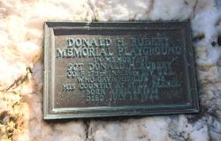 A monument in Warwick, Rhode Island, commemorating a playground in Sergeant Rubery's honor. Courtesy of Rebecca Carcieri