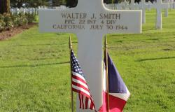 Walter J. Smith's grave at Normandy American Cemetery, October 2017. Courtesy of the American Battle Monuments Commission.