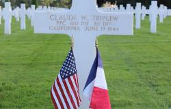 Claude Triplew's grave at Normandy American Cemetery, October 2017. Courtesy of the American Battle Monuments Commission.