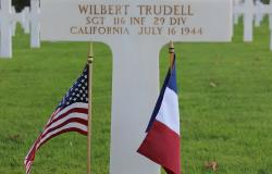 Wilbert Trudell's grave at Normandy American Cemetery, October 2017. Courtesy of the American Battle Monuments Commission.