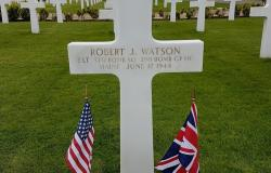 The grave of Robert J. Watson at Cambridge American Cemetery in Cambridge, England, April 2017. Courtesy of the American Battle Monuments Commission.