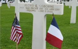 A picture of Floyd Osborne's grave at the Normandy American Cemetery. 2014. Courtesy of Amy Braun